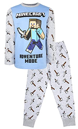 Minecraft - Conjunto de Pijama de Mangas Largas - Pijamas Niños - Conjunto de Pijama de Steve Adventure Mode - Regalo de Cumpleaños...