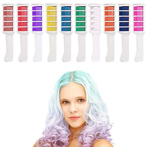 Auidy_6TXD 10 Stück Haarkreide Kamm, Auswaschbar Temporär Haarfarbe Ungiftig Haarfärbemittel Kreide Kamm für Kinder Party Cosplay