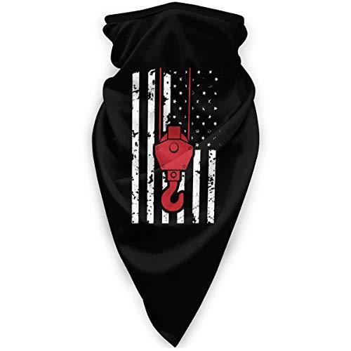 Khtti Unisex WinterCrane Operator USA Flagge Amerika Patriotische Nahtlose Gesichtsmaske Bandanas für Staub, Outdoor, Festivals, winddichte Sportmaske, Schwarz , Einheitsgröße
