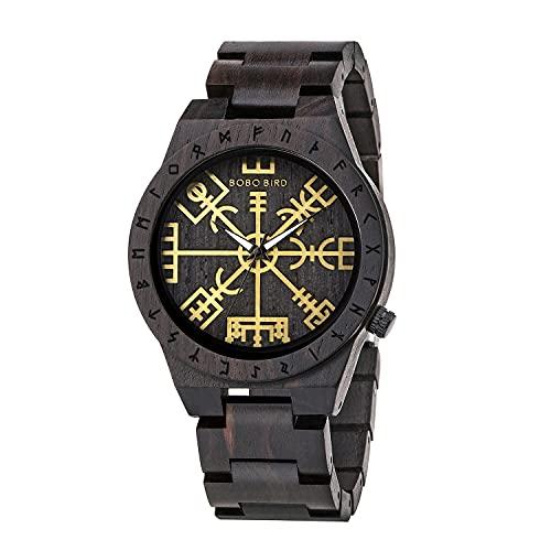 BOBO BIRD Handmade Wooden Mens Watch Unique Runic Circle Watches Golden Symbol of Vegvisir Watches Lightweight Fashion Quartz Wristwatch (Brown Black)