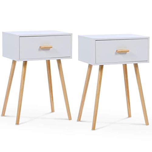 IDMarket - Set mit 2 weißen skandinavischen EIYA Nachttischen aus Holz