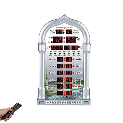 HXSYD Automatische Muslim Gebet Wand Tabelle Azan Uhr, Ramadan Musik Spielen Islamische Uhr, Zeit Reminding Moschee Kalender Geschenk Led Digital Clock