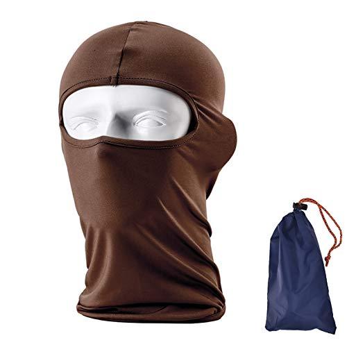 Balaclava Face Protection Mask Ultra-thin Full Face Ventilation Mask, Ninja Mask Head Sock Motorcycle Helmet Cover Hood Neck Warmer Tactical Skateboard Helmet Head Liner Face Mask Bandana, Brown
