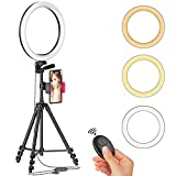 12' LED Selfie Ring Light with Tripod Stand & Cellphone Holder for Live Stream/Makeup/YouTube Video, Dimmable Beauty Ringlight for iPhone Android Phone, Color Temperature 3000K-6000K, 162Bulbs, Remote