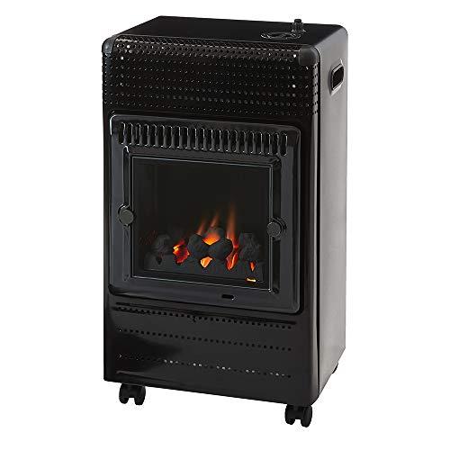 Favex - Chauffage d'appoint à gaz Ektor Fire - Intérieur - Brûleur Inox Infra Bleu effet feu de cheminée - 3 Puissances de Chauffe -jusqu'à 35 m² - Noir