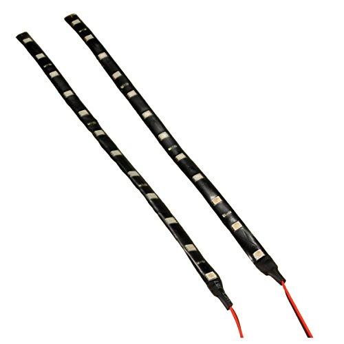 Exanko 2 x 5050 SMD 12 LED IP65 Luz de tira flexible Impermeable 12V 3W para Coche Casa 30cm blanco