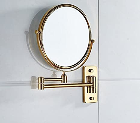 The Bathroom Mirror On The Wall Mount And Fold Out Mirror Extendable Double Sided Magnifying Mirror Amazon De Home Kitchen