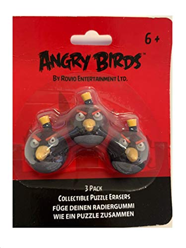 Creative Kids Oficial Angry Birds Goma de borrar Colección Puzzle Set de 3 Pájaros Negro 3 cm