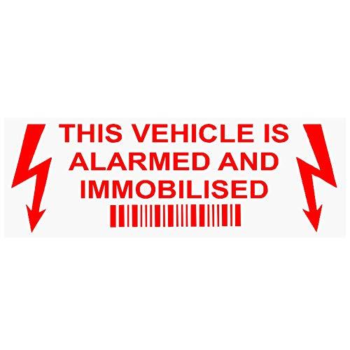 5 x Este vehículo está alarmado e inmovilizado Pegatinas Rojo sobre Transparente 30x87 mm Alarma Inmovilizador Advertencia de Seguridad Señales de Ventana Coche Autocaravana Taxi Aviso Segurid