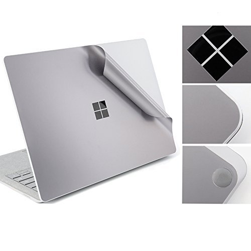 DolDer Microsoft Surface Laptop/Laptop 2 Skin Aufkleber Chrome-Soft-Silber Designfolie Decal Sticker für Surface Laptop - Silber einweg