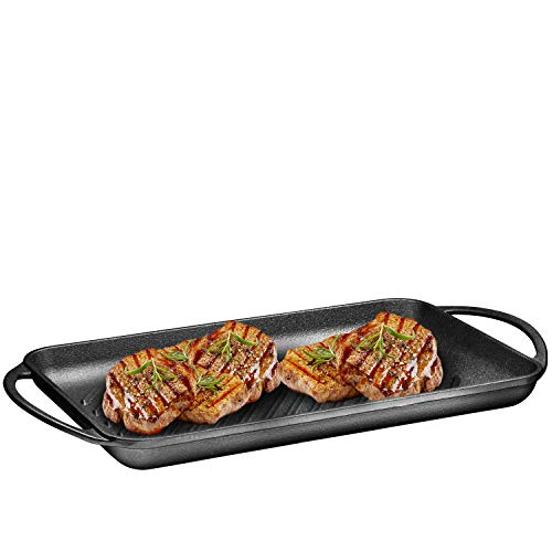 Pre-Seasoned Cast-Iron Rectangular Grill Pan with Raised Seared Lines, Non-Stick Pan for Stove Tops, Perfect for Steak, Fish and BBQ, Chip Resistant, Loop Handles, 9.5' x 13.5' By Bruntmor