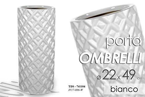 Gicos Portaombrelli in Ceramica Porta ombrelli 22xh49cm Bianco Fantasia Geometrica