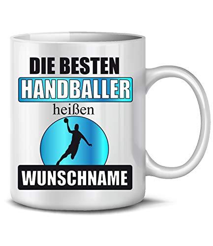 Golebros Die beesten Handballer heißen Wunschname Handball Sport 6427 Geburtstag Geschenk Fun Tasse Becher Kaffeetasse Kaffeebecher Schwarz
