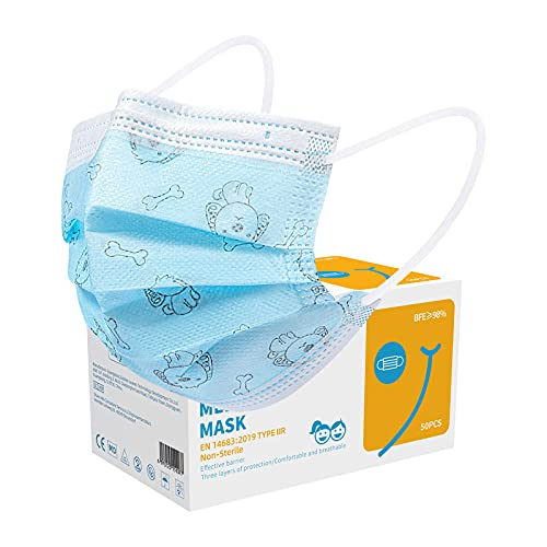 Acewin 50 Stück Kindermasken Einweg Bunt, Einwegmasken Kinder Farbig mit Motiv Druck CE Zertifizierte 3 Lagig Atmungsaktive, TYP IIR Gesichtsmaske Kinder Einweg - Blau Hund