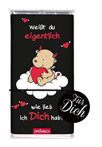 STEINBECK Schokolade ENGEL & TEUFEL Vollmilch 100g Tafel Weißt du eigentlich wie lieb ich Dich hab Geschenk Valentinstag von Herzen Mitgebsel Jahrestag