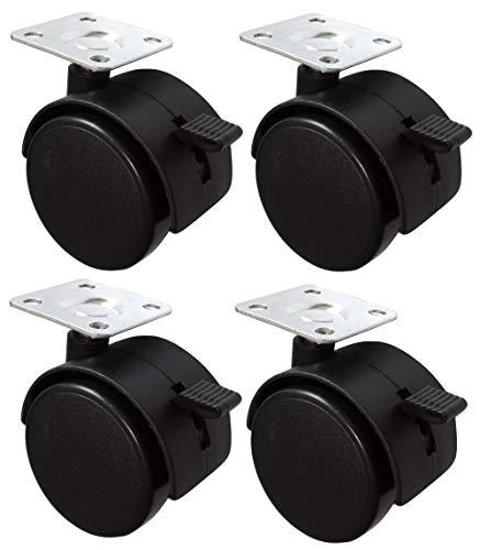 Aerzetix: 4 x Rollen für Möbel drehbar mit Bremsen Durchmesser 50 mm Höhe 65 mm 30 kg mit Montageplatte 36 x 36 mm C42664