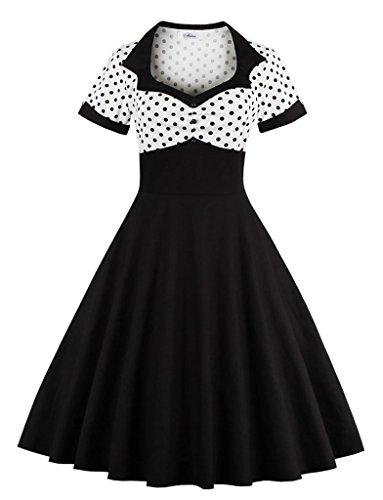 VERNASSA 1950s Vestidos para Mujer, 50s Vestido Retro con Estilo del Oscilación de la Tarde de la Vendimia del Baile de Fin de Curso del Club del Coctel del Algodón del Estilo de Hepburn