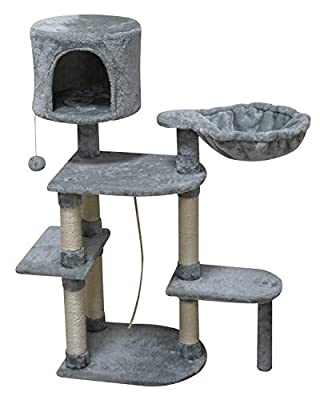 FISH&NAP US05H Cat Tree Cat Tower Cat Condo Sisal Scratching Posts with Jump Platform and Soft Hammock Cat Furniture Activity Center Kitten Play House Grey