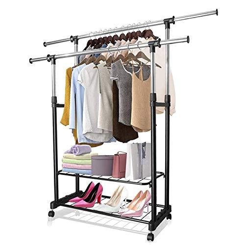 PowCube Garment RackAdjustable Garment Rolling Collapsible Clothing RackDouble Rods2 Shelveswith 4 Wheels
