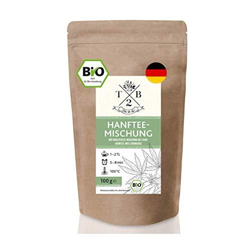 Bio Kräutertee-Mischung mit Hanf, Grünem Tee und Zitronengras – Hanftee-Mischung als leckerer Beruhigungstee für eine entspannende Tasse Tee – 100g, Hergestellt in Deutschland