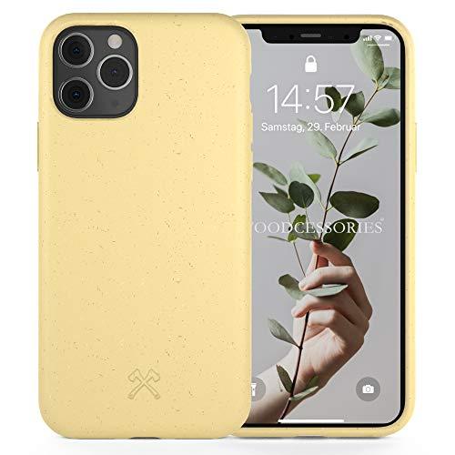 Woodcessories - Antibakterielle Bio Hülle kompatibel mit iPhone 11 Pro Hülle gelb - Plastikfrei, nachhaltig