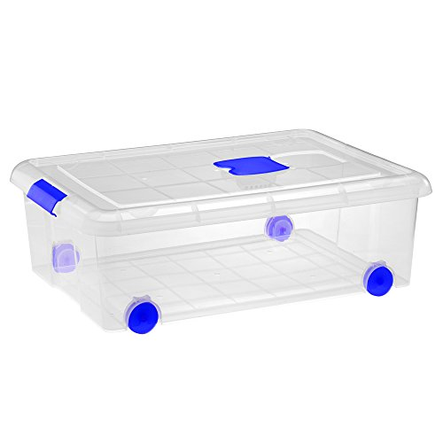 Gran caja de clasificación de plástico con ruedas (Mod. 10), Natural, 1 pieza