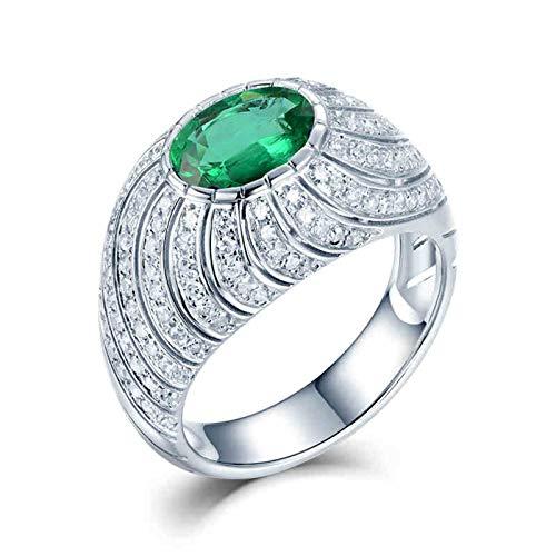 AnazoZ Anillos Mujer con Esmeralda,Anillo de Oro Blanco 18K Mujer Plata Verde Oval Esmeralda Verde 0.8ct Diamante 0.69ct Talla 20
