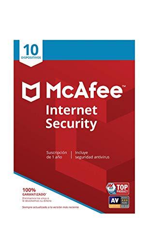 McAfee Internet Security - Antivirus | 10 Dispositivos | Suscripción de 1 año | PC/Mac/Android/Smartphones | Código de activación por correo