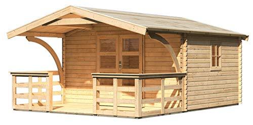 Gartenhaus mit Vordach Drau 5 mit Vordach 1,80 m Tiefe und Terrasse, naturbelassen, 38 mm Wandstärke - 3,87 x 4,76 x 2,42 m (B x T x H)