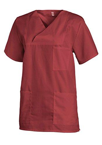 Leiber® Damen- / Herren-Schlupfjacke 08/769 für Medizin und Pflege, OP-Kleidung (V, Bordeaux)