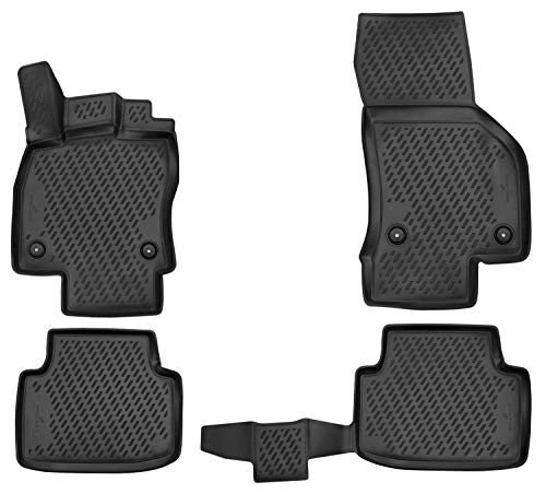 Walser XTR Gummifußmatten kompatibel mit Passat (B8) Baujahr 2014 - Heute, passgenaue Auto Gummimatten, Autofußmatten Gummi