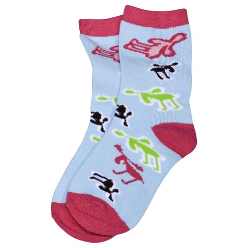 Animal World - Moose Retro Kid's Socks - Small Light Blue