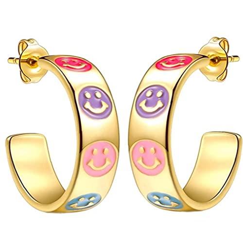 1pair Smiley Hoop Earrings Lightweight Colorful Open Ear Cuff Ladies Jewelry Birthday Gift