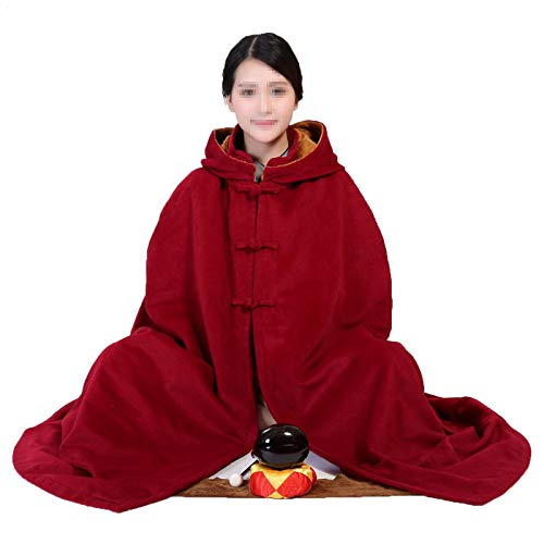 KELUNIS Manteau À Capuche De Méditation Bouddhiste Unisexe, Moine Zen Vêtements De Méditation Robes Coussin De Méditation Manteau d hiver,XXL