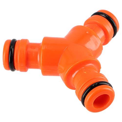 KADAX Dreiwegestück aus Kunststoff ABS, Y-Stück, Schlauchkupplung mit DREI Gewinden, Schlauchverbinder, Schlauchabzweiger, Schlauchverbindungsstück (Orange)