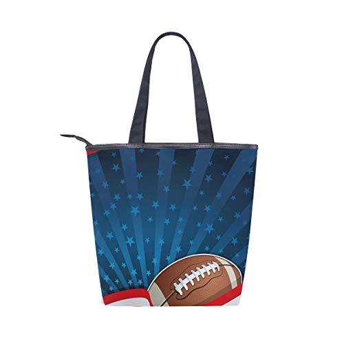 BKEOY Große Handtasche, Schultertasche, American Football, Muster, Einkaufstasche mit Reißverschluss