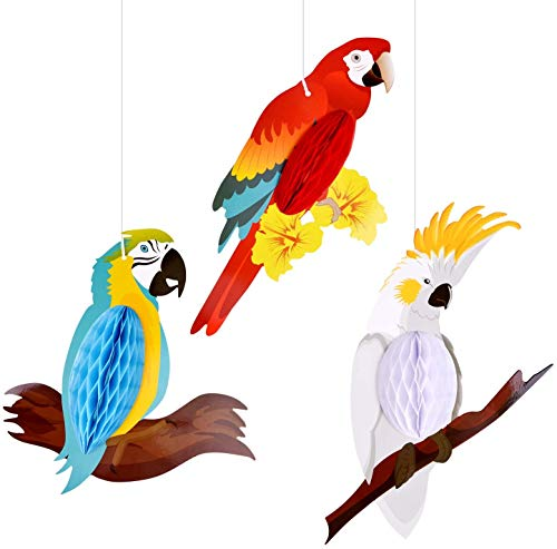 Richaa 6 Pack Tropical Birds Honeycomb Parrot, Tropical Birds Honeycomb Paper Cutouts Hanging Decoration Luau Summer Beach Party Home Classroom Supplies