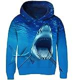 AIDEAONE Sudadera con capucha 3D para niños y niñas. Tiburón 5-6 Años