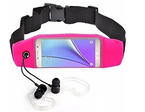 Running Sport heuptas sportriem voor hardlopers en activiteiten buitenshuis. Waterdicht met elastische riem. Compatibel met smartphones tot 12,7 cm (5 inch). Kleur: roze.
