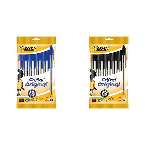 BIC Penne a Sfera, Cristal Original, Punta Media, 1,0 mm, Confezione da 10 Penne Nere + 10 Penne Blu, Fornitura Cancelleria Scuola e Ufficio