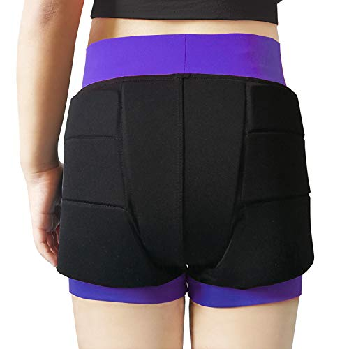 Youper Girls Protective Padded Shorts for Skating, Skateboarding, 3D Protection for Hip & Tailbone Black Purple