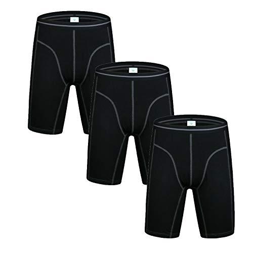 Nuofengkudu Herren Langes Bein Sport Boxershorts Männer Nahtlose Baumwolle Bequeme Unterhosen Bulge Unterwäsche Shorts (3er Pack) Schwarz M