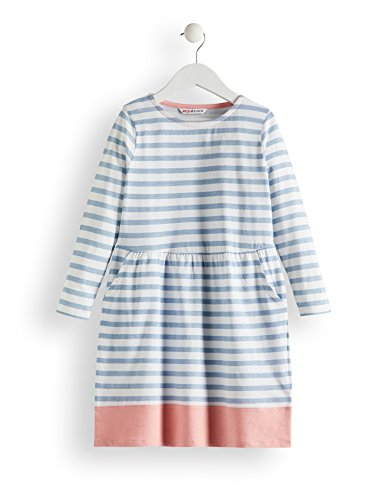 Amazon-Marke: RED WAGON Mädchen Kleid mit Streifenmuster, Mehrfarbig (Blue & White), 110, Label:5 Years