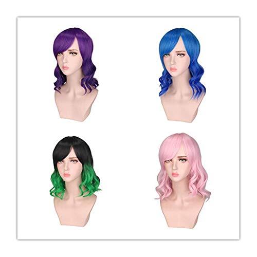 ZHML Européens Et Américains Femme Oblique Bangs Perruque Couleur des Cheveux Mélange Jejune Paragraphe Unretentive Perruques (Color : Green)