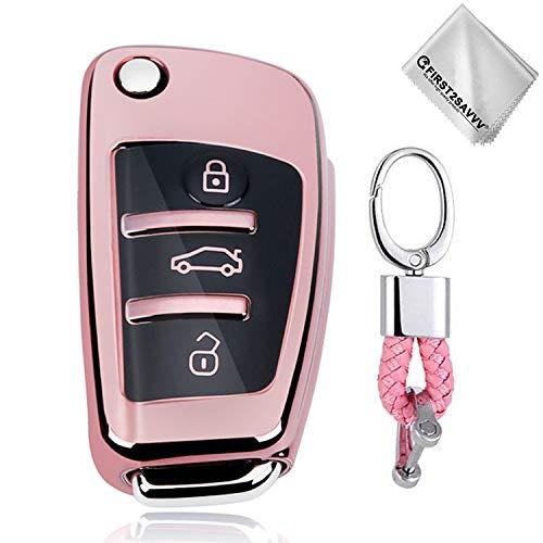 Rosado Funda para Llave Smart Key para Coche 3 Button Audi A1 A3 A4 A6 A8 TT Q7 Q5 S6 - Carcasa Protectora [Suave] de [Silicona] - Case de Mando de Auto