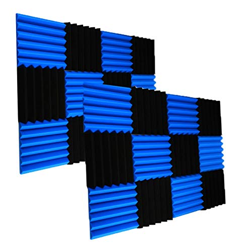 """24 Pack Acoustic Foam Panels 2"""" X 12"""" X 12"""" Soundproofing Studio Foam Wedge Tiles Fireproof - Top Quality - Ideal for Home & Studio Sound Insulation (24PCS, Black&Blue)"""
