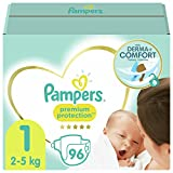 Pampers Premium Protection 81689089 pañal desechable Niño/niña 1 96 pieza(s) - Pañales desechables (Niño/niña, Tape diaper, 2 kg, 5 kg, Multicolor, Velcro)
