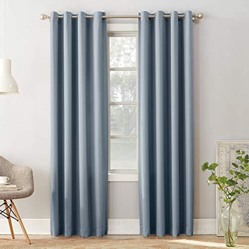 "Sun Zero Barrow Energy Efficient Grommet Curtain Panel, 54"" x 84"", Vintage Blue"