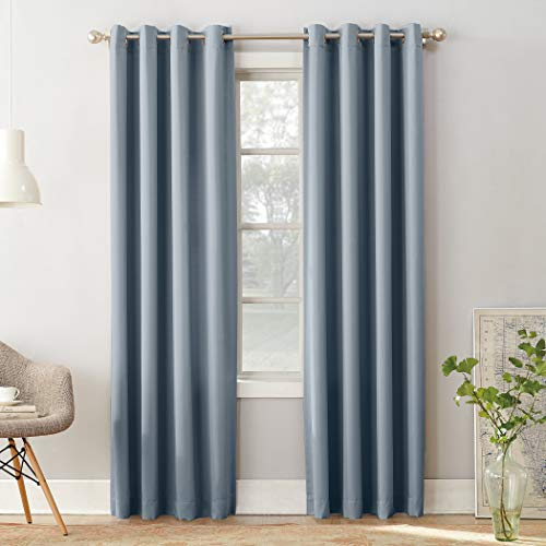 Sun Zero Barrow Energy Efficient Grommet Curtain Panel, 54' x 84', Vintage Blue