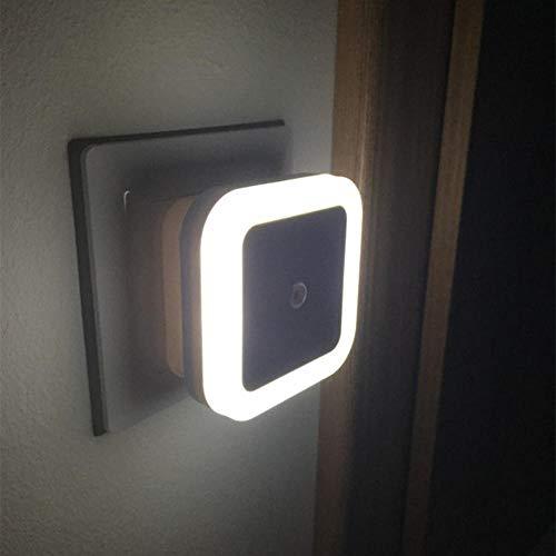 Control de sensor de luz Mini luz de noche de pared,enchufe de EE. UU. UE Sensor automático Dormitorio Cuarto de baño Lámpara de noche cuadrada Bombillas de luces de colores